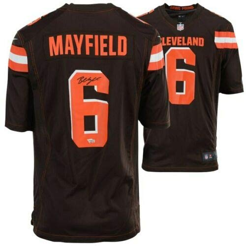 Amazon.com  BAKER MAYFIELD Autographed Cleveland Browns Nike Brown Game  Jersey FANATICS  Sports Collectibles ad8389470