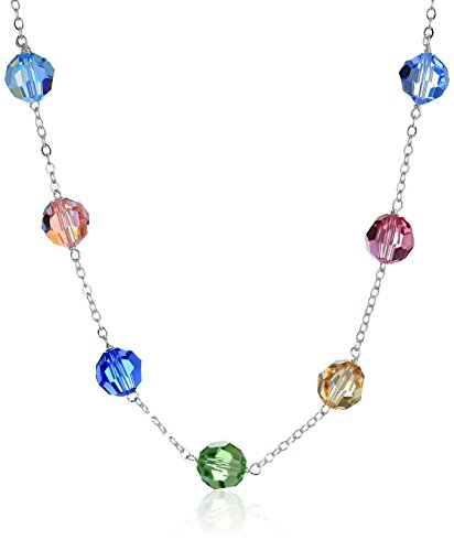 - Multi-Color Swarovski Element Beads on Sterling Silver Tin Cup Chain Necklace, 18