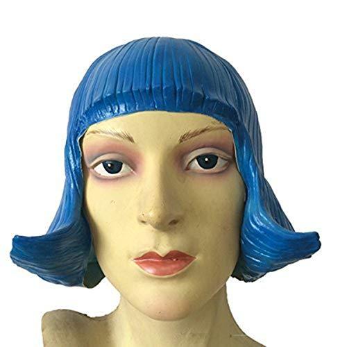 MostaShow Pretty Blue Latex Wig Women's Wig Anime Costume Fancy dress Theater Prop -