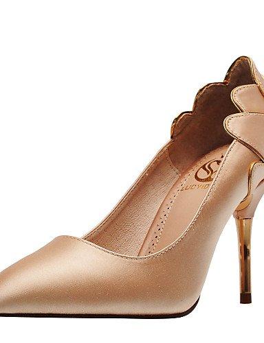 BGYHU GGX/Damen Schuhe Satin Frühjahr/Herbst Heels/geschlossen Zeh Hochzeit/Party & Kleid Stiletto Heel Schwarz/Rot/Champagner 3in-3 3/4in-red