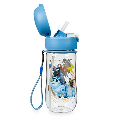 Disney Puppy Dog Pals Canteen Flip Top Water Bottle With Straw 12 (Sippy Pal)