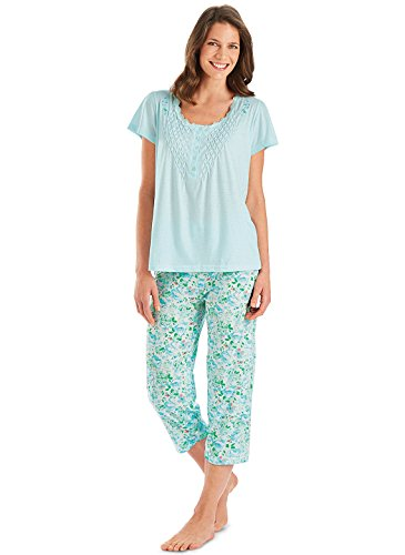 Capri Pajamas with Smocked Top | Summer Pajamas, Color Mint, Size Extra Large (1X), Mint, Size Extra Large (1X)