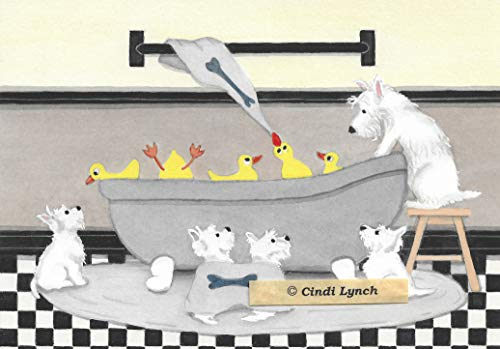 (West Highland Terriers (westies) share bath with ducks / Lynch signed folk art print)