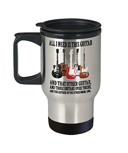 (All I need is this guitar -Guitar lover gift - him/her,Dad ,Men, women ,kids-, girls / boys -teacher -Accessories -player- themed-Guitarist Mom - Bass Guitar Travel mug - Acoustic -Electric - shaped)