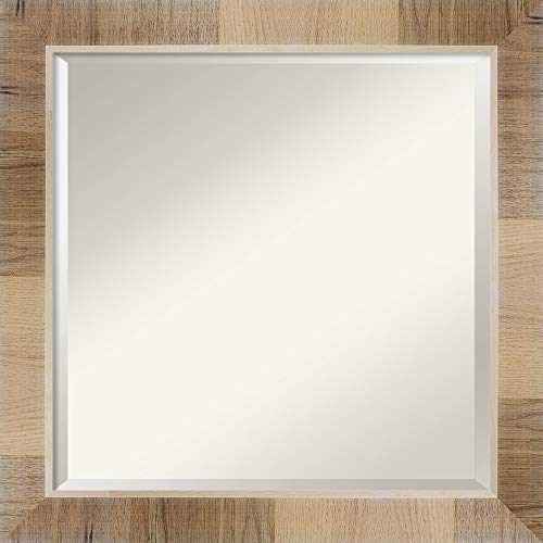 Amanti Art Framed Vanity Mirror   Bathroom Mirrors for Wall   Natural -