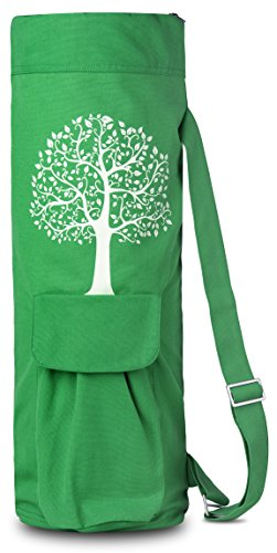 BalanceFrom GoYoga Full Zip Exercise Yoga Mat Bag with Multi-Functional Storage Pockets [Fits Both 1/2-Inch and 1/4-Inch Thick Mats] (Green)