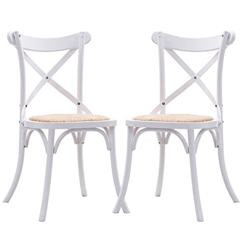 Costway Cross Back Dining Chairs Set of 2 Solid Wooden Frame Antique Style Side Chairs for Kitchen Rooms with Rattan Seat (White)