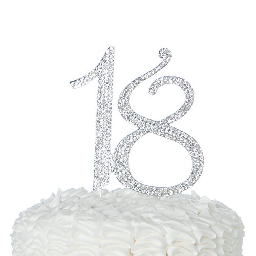 Ella Celebration 18 Cake Topper 18th Birthday Party Supplies & Decoration Ideas (Silver)