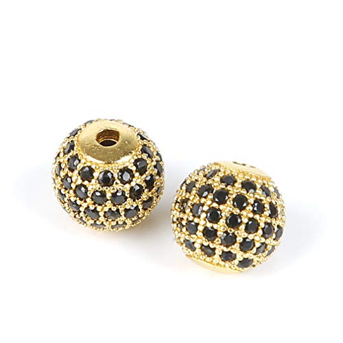 Fashion Metal Pave Crystal Geometry Crown Leopard Helmet Skull Round Space Beads For Jewelry Bracelet Making Gold7