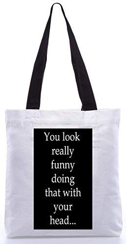 Snoogg Sie schauen lustig 13.5 x 15 Zoll-Shopping-Dienstprogramm-Einkaufstasche aus Polyester-Segeltuch gemacht