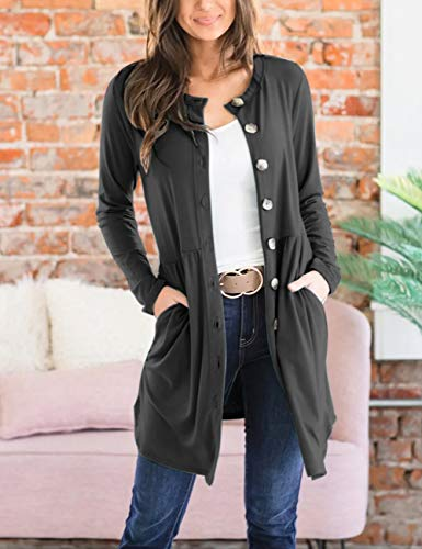 MEROKEETY Womens Button Down Long Sleeve Cardigan Lightweight Shirred Waist with Pockets