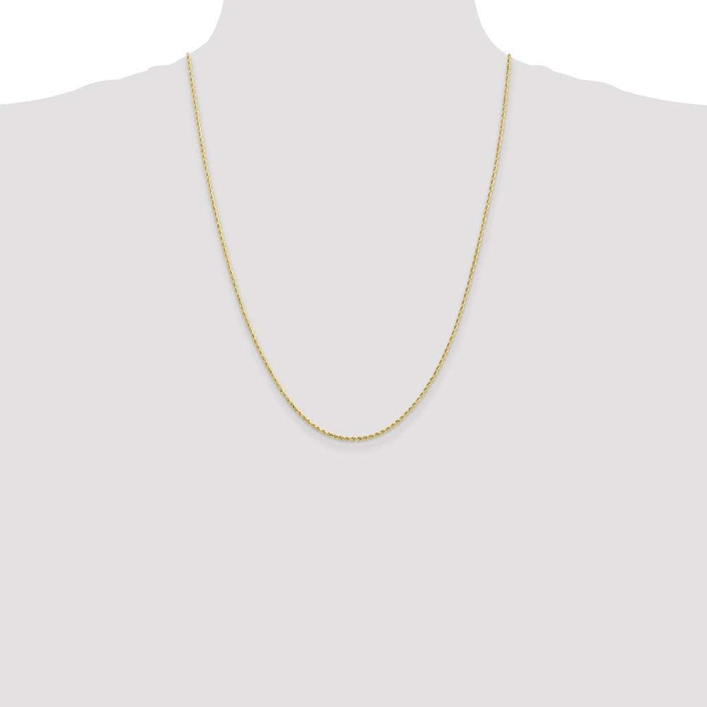 Black Bow Jewelry 1.75mm 10k Yellow Gold Diamond Cut Solid Rope Chain Necklace