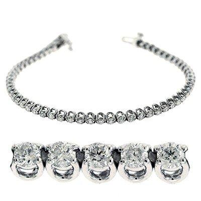 Or blanc 14carats Diamant Bracelet