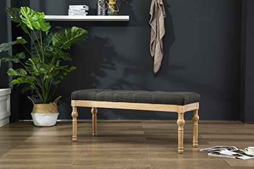 Fabric Room Bench Dining (Roundhill Furniture CB161CC Habit Solid Wood Button Tufted Dining Bench, Charcoal)