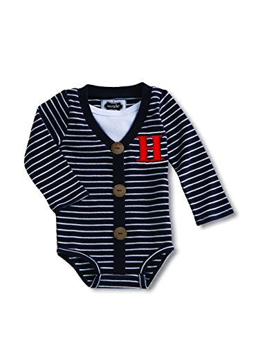 Price comparison product image Mud Pie Baby Boy's Initial Crawler Set 0-6 Months (Letter H)