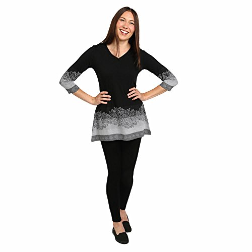 Women's Tunic Top- Black And White Rose Border Long Sleeve Shirt - 3X