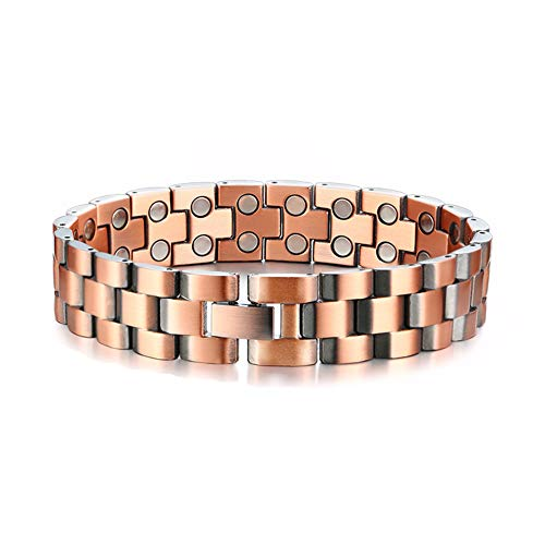 Matt Adjustable Nickel (8.5inch Double Row Magnets Elegant Pure Copper Magnetic Therapy Bracelet Pain Relief for Arthritis and Carpal Tunnel,As a Healthy Gift.)