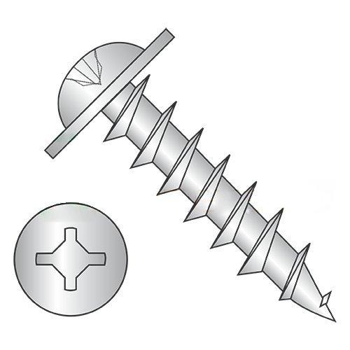 #8 x 1'' Deep Thread Wood Screws/Combo/Round Washer Head/Steel/Zinc/Square & Phillips Combo Drive/Full Thread (Carton: 4,000 pcs) by Newport Fasteners