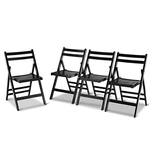 Set of 4 Solid Wood Folding Chairs Slatted Seat Wedding Patio Garden Furniture (Lounges Me Near Outdoor)