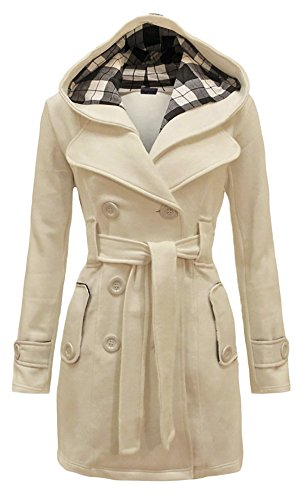 QZUnique Women's Double Breasted Outerwear Thin Hoodie Pea Coat Jacket Beige US 12-14