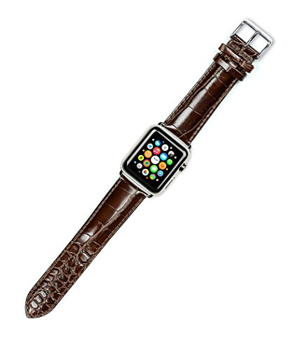 debeer-replacement-watch-band-crocodile-grain-short-length-brown-fits-42mm-apple-watch-silver-adapte