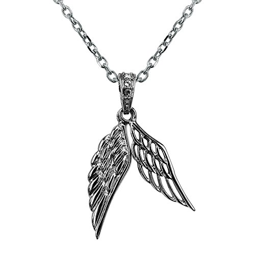 Unisex Stainless Steel Angel Wing Charm Pendant Necklace With 24inch Chain (Double - Charm Angle Wing