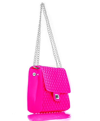 Caseahead Luxury Women Crossbody Shoulder Bag Jelly Quilted Handbag Silicone Clutch Purse with Chain Strap - Pink