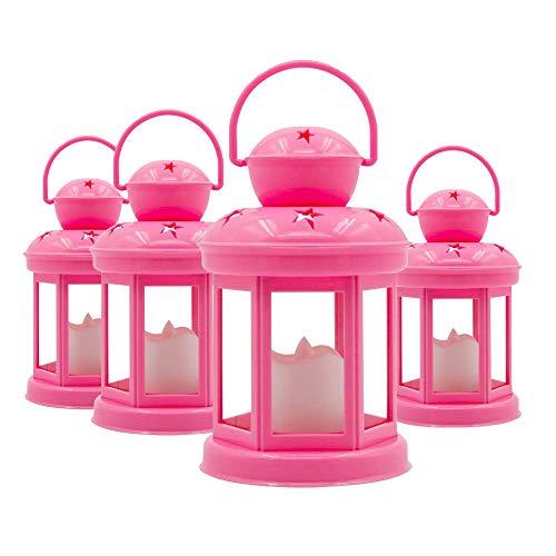 Keygift Decorative Pink Candle Lantern -Set of 4 Soft Flickering LED Light -7.5