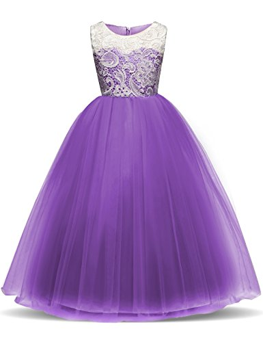 TTYAOVO Girl Lace Tulle Flower Princess Party Maxi Dress Kids Prom Ball Gown Size 8-9 Years Purple