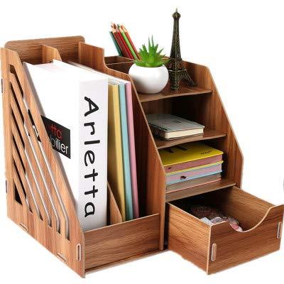 Organizer in legno da scrivania per cancelleria con cassetto scomparto portariviste e portadocumenti multifunzione formato A4 28x26x30cm Ciliegia. adatto per l/'ufficio la scuola e la casa 10x10x11.55inch
