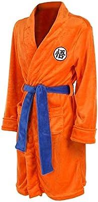 Mens Bath Robes Pajamas Nightwear Super Soft Dragon Balls Dressing Gown Shawl Collar Sleepwear Orange
