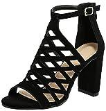 TravelNut Best Western Fun Toes Out Hi Heel Caged Gladiator Sandal Shoe for Teen Girls Women (Black...