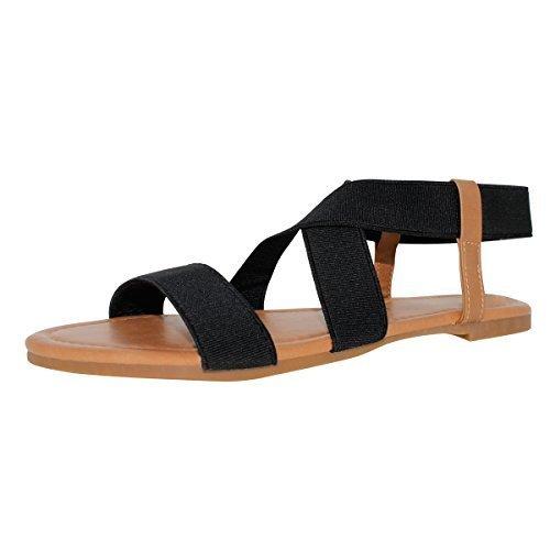 SANDALUP+Women%27s+Elastic+Flat+Sandals+Black+Size+08