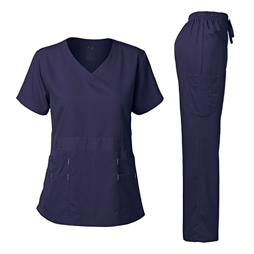 Women's Scrubs Set Stretch Ultra Soft V-Neck Top and Pants Navy M
