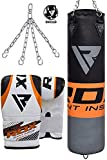 RDX Punching Bag UNFILLED Set Kick Boxing Training Gloves with Punch Mitts Hanging Chain, Ideal for MMA, Muay Thai, Martial Arts, Available in 4FT 5FT
