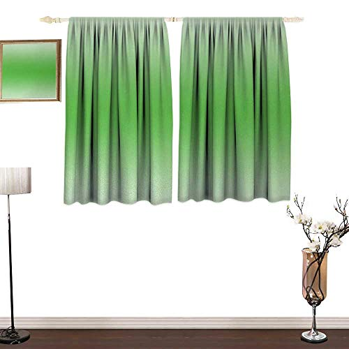 Genhequnan Ombre, Bedroom Full Blackout Curtain Panels, Moss Leaf Nature Spring Inspired Vibrant Colored Ombre Design Digital Print Image Artwork, Art Prints Window Treatment, W63 x L63 Inches, Green