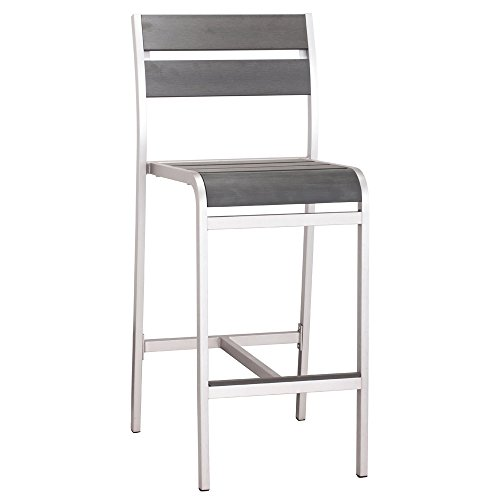 Zuri Furniture Ashton Armless Bar Chair, Brushed Aluminum ()