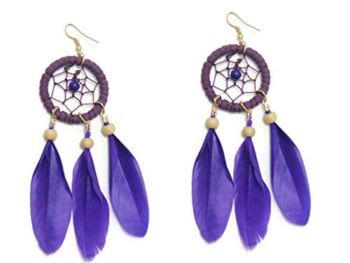 Anne Boleyn Dress (CHADADA Handmade Jewelry Natural Dream Catcher Feather Drop Dangle Earrings (Purple), EA13)