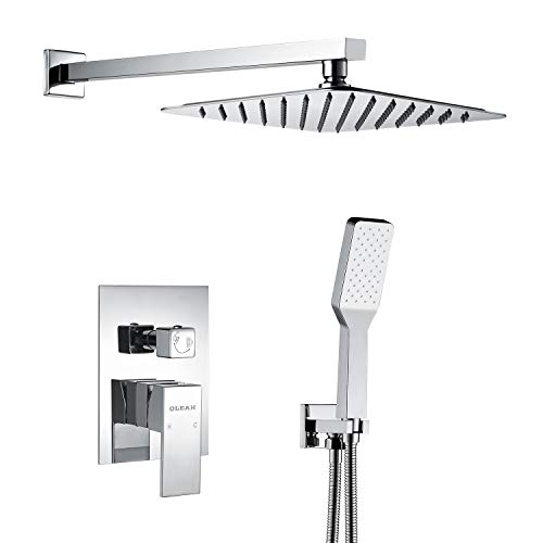 OLEAH Bathroom Rain Mixer Shower Faucet Combo Set Wall Mounted Shower System Polished Chrome with Rainfall Shower & Handheld Shower Head with Automatic Nozzie Cleaning,Including Control Rough-in Valve ()