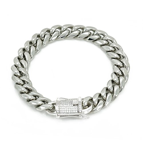 "12mm 8.5"" Cuban Link Bracelet 14k White Gold Plated Stainless Steel - 925 Silver 1ct Lab Diamond Clasp -"