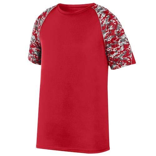 Augusta Sportswear Boys' Color Block Digi Camo Jrsy S Red/Red Digi/Silver