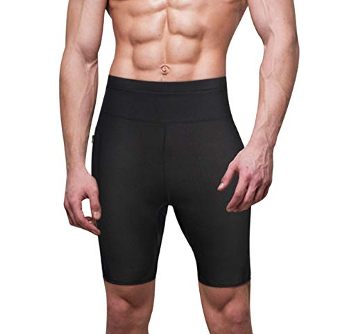 Wonderience Men Neoprene Slimming Shorts for Weight Loss Hot Thermo Sauna Sweat Pants Fitness Workout Body Shaper (Black, XX-Large)