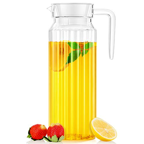 Water Pitcher, OCUBE Food-Grade Plastic Acrylic Juice Jugs with Lid(1.1 Liters) Shatterproof and Heat Resistant Party Pitcher for Water,Iced Tea,Orange Juice,Lemonade,Milk and More Beverages-Clear