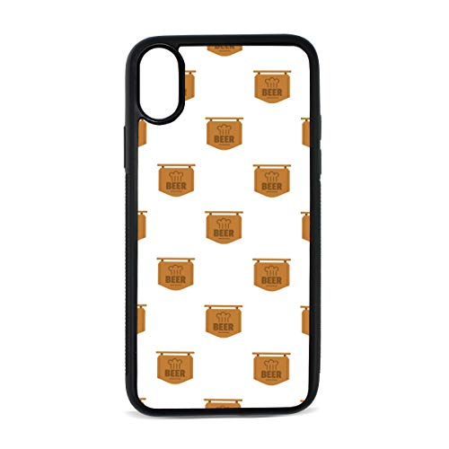 iPhone Beer Cafe Logo Dinner Burger Retro Design Art England Digital Print TPU Pc Pearl Plate Cover Phone Hard Case Cell Phone Accessories Compatible with Protective Apple Iphonex/xs Case 5.8 ()