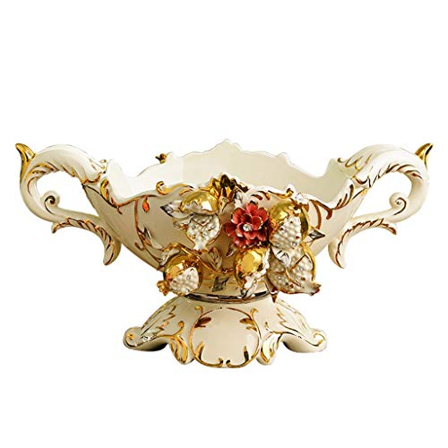 Zcxbhd Fruit Basket, Ceramics Candy Dish Large European Style Home Coffee Table Decoration Manual Gold For Not Fragile Binaural Tray (Size : A)