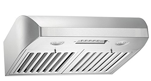 KOBE CHX2236SQB-1 Brillia 36-inch Under Cabinet Range Hood, 3-Speed, 680 CFM, LED Lights, Baffle (Broan Baffle Filter)