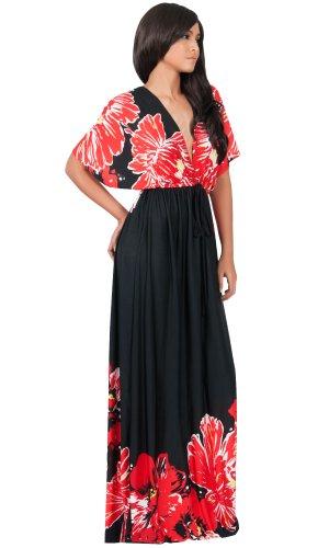 Koh Koh Women's Kimono Sleeve V-neck Flower Print Long Maxi Dress - Small - Black with Red Flower