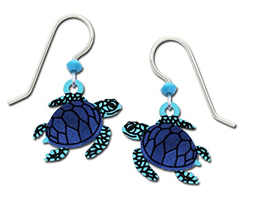 - Sienna Sky Blue Swimming Sea Turtle Hand Painted Earrings with Gift Box Made in USA