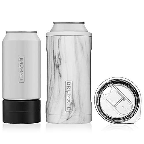 BrüMate HOPSULATOR TRíO 3-in-1 Stainless Steel Insulated Can Cooler, Works With 12 Oz, 16 Oz Cans And As A Pint Glass (Carrara) (1 Steel Stainless)