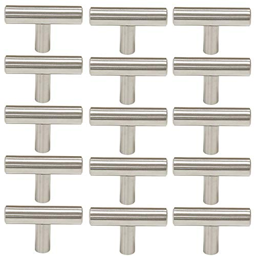 Probrico Stainless Steel Modern Cabinet Drawer Handle Pulls Kitchen Cupboard T Bar Knobs and Pull Handles Brushed Nickel - Single Hole - 15Pack